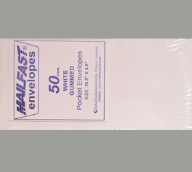 MAIL FAST 50 PACK WHITE 80 GSM 10.5 X 4.5 INCHES