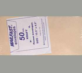 MAIL FAST 50 PACK KRAFT 90 GSM 10.5 X 4.5 INCHES